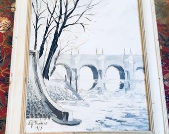Oil painting of Paris: the Seine in Winter 1969 Gurwin Thomas