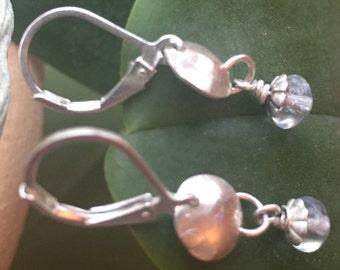 Dainty sterling silver light blue glass bead