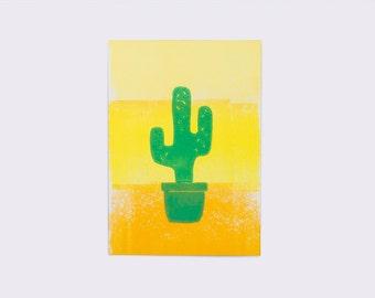 Post Card. Linocut printing. Cactus