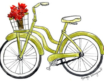 Bicycle Beach Cruiser Digital Print