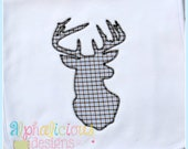 Deer Embroidery Design - Zig Zag Deer Head Embroidery Design - Embroidery Design - Applique Design - Hunting Embroidery Design