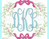 Vintage Spring Monogram Laurel Frame- ALL SIZES- Laurel Wreath Frame- Monogram Frame- Digitized Embroidery Design
