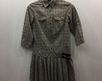 176e5c4a013 Créateur luxe Vintage Occasion décontractée BURBERRYS authentique London  étiquette bleue robe boutons femme