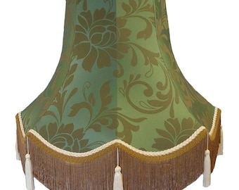 Azure Harlequin Pattern Fabric Lampshade Decorated In Cream and Gold Trim. Ideal For Floor Lamps, Table Lamps and Wall Lights