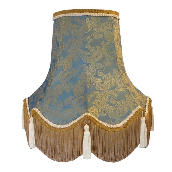 Paisley Aqua Blue Fabric Lamp Shades, Aqua Blue Lamp Shades
