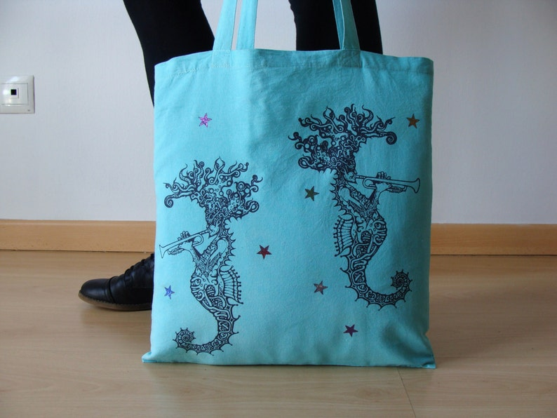 Screen printing tote bag Jazz tote bag Seahorse canvas tote bag Tote bag Woman tote bag Music Shopping tote bag Cute blue tote bag