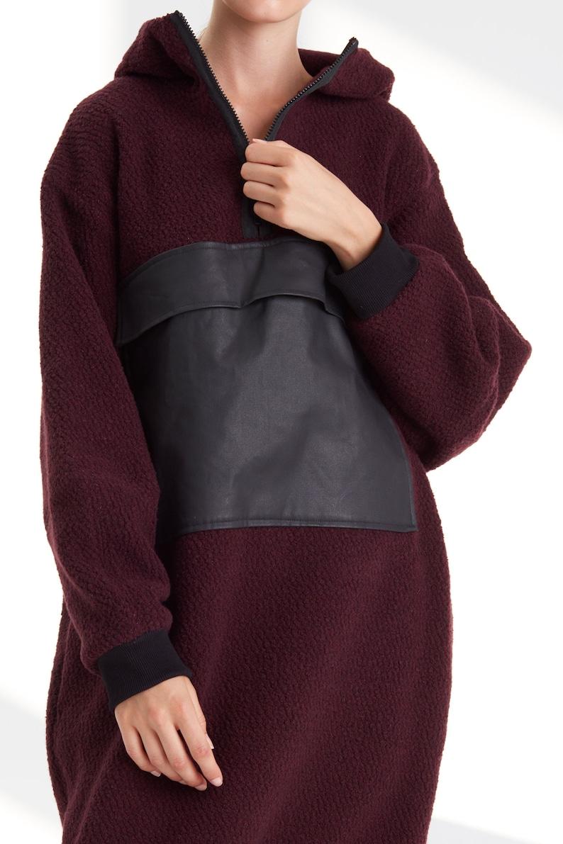 Burgundy wool coat  Wool sweatshirt  Burgundy oversized sweatshirt  Burgundy coat  Minimalist clothing
