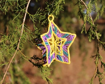 Embroidered Lace 3D Star Ornament in Yellow, Purple, and Teal