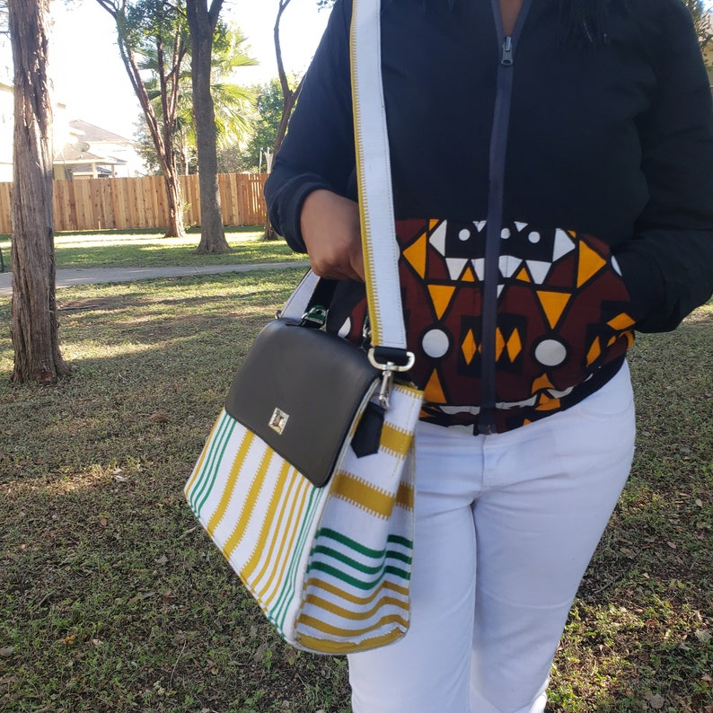 Hand woven Kente fabric crossbody bag Leather and fabric combination sturdy. gift for her