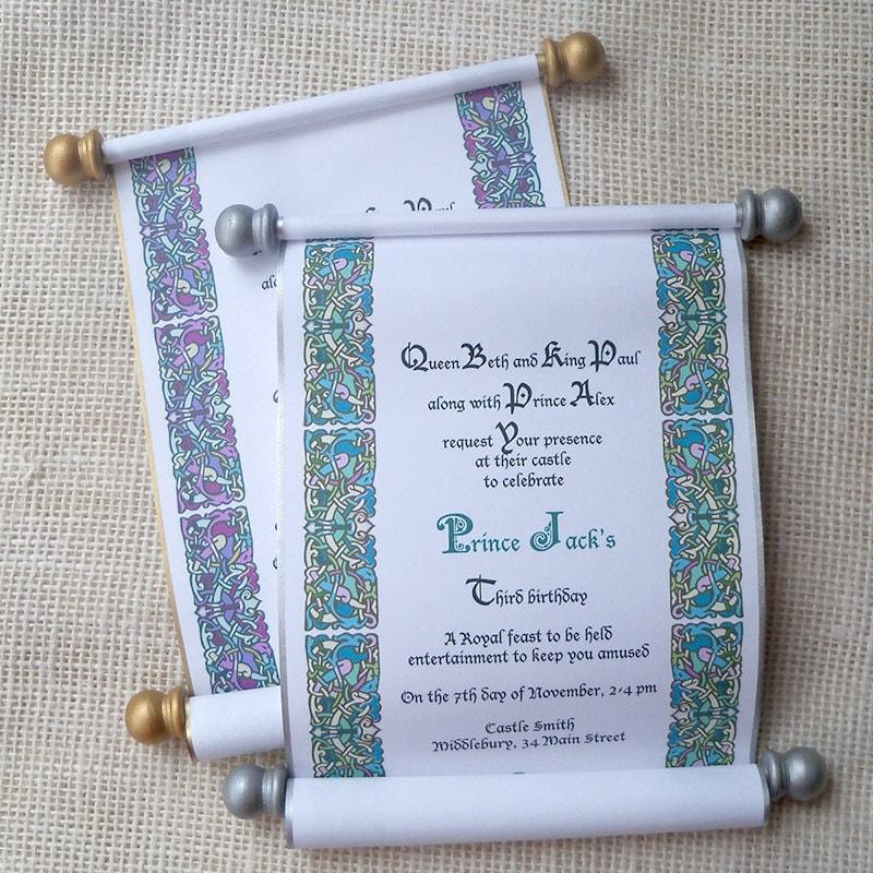 Royal Birthday Invitation Scroll Invitations Princess Party