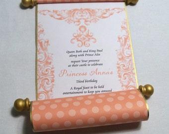 Cinderella Princess Birthday Party Invitation Scrolls in Pink