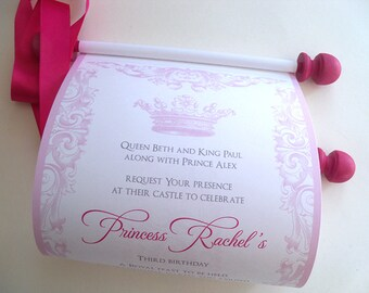 Fairytale princess invitations with royal crown in pink, royal birthday invitation scrolls