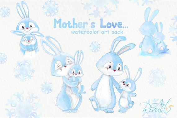 Watercolor Bunny Clipart Png Bunny Mother Ans Child Clip Art Etsy