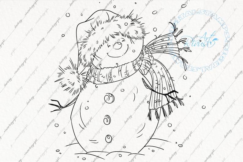 Snow Xmas Snowman coloring page Digital Stamp Clip Art Printable Christmas colorings Winter PNG Cute Noel Festive JPEG Clipart