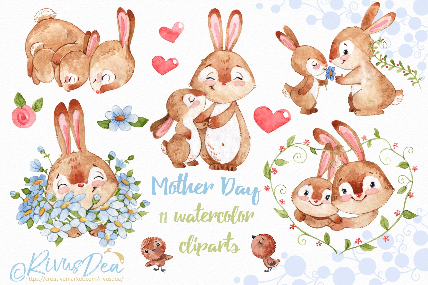 26f7bb2db063 Mothers day watercolor clipart with cute bunny and mom Rabbit | Etsy