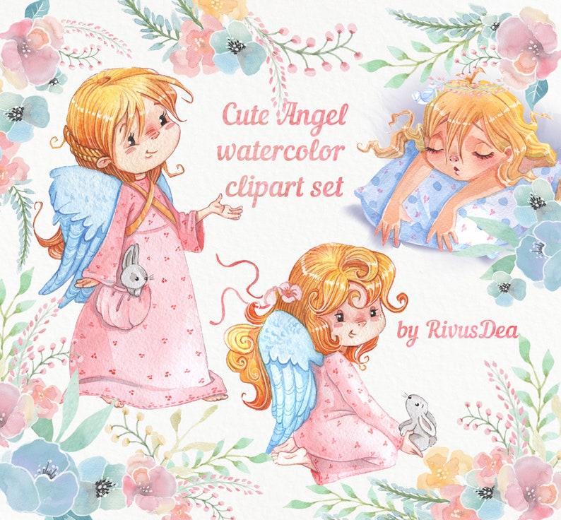 b4444325b6e5 Watercolor Angels girl bunny rabbit child Christmas clipart | Etsy