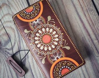 Genuine Leather Notebook With Hand Painted Mandala Henna Etsy