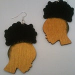 Young Women With Natural Puff Earrings- African american girl natural with silver hook