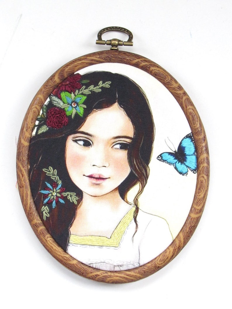 Beautiful Girl & Butterfly Wall Art image 0