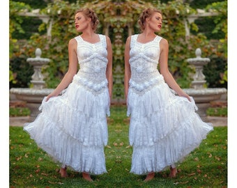 65ba635d3680 Fairy tale wedding dress ethereal white and ivory shabby tattered ragged  one of a kind Size 4 - 7/8.
