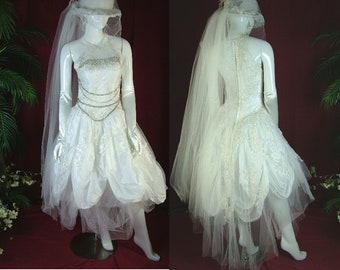 4de1ad472f62 Victorian steampunk wedding dress mardi gras with a small bustle and hat  with gloves. In white and silver a unique event dress size 5-7