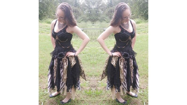 1931536f4455 Steampunk Gothic pagan event wedding dress black gold tan sexy   Etsy