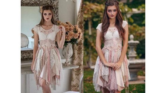 Bohemian Layered Wedding Dress Country Style Dress Pink Cream Dress Alternative Wedding One Of A Kind Dress Unique Dress Size 5 8 9