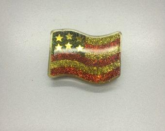 Lucite Flag Pin Patriotic Jewelry