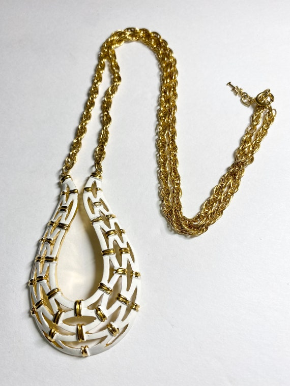 Crown Trifari White and Gold Necklace