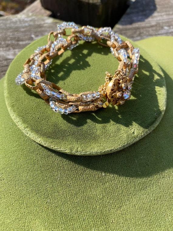 Miriam Haskell Glass Bead and Brass Bracelet