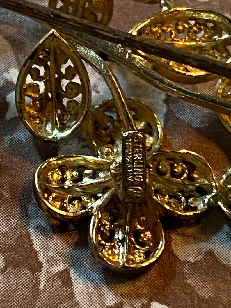Sterling German Filigree Flower Brooch