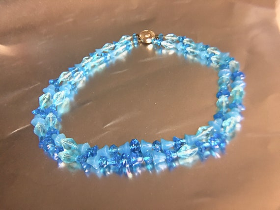 Shades of Blue Bells Lucite Necklace