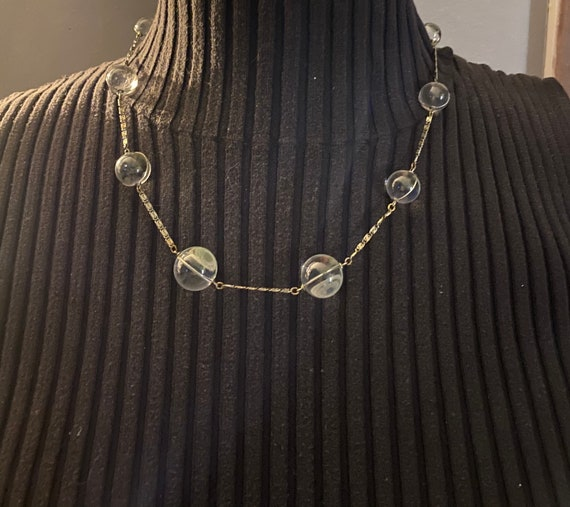 Art Deco Pools of Light and Silver Necklace