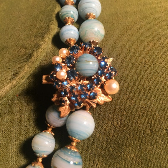 Miriam Haskell Blue Marbled Double Strand Bead Nec