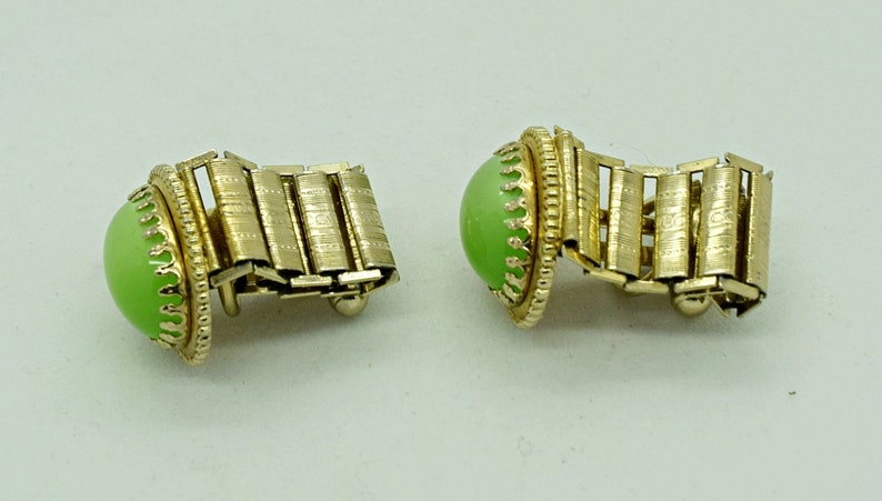 Green Moonstone and Gold Cuff Links Fashion Accessories