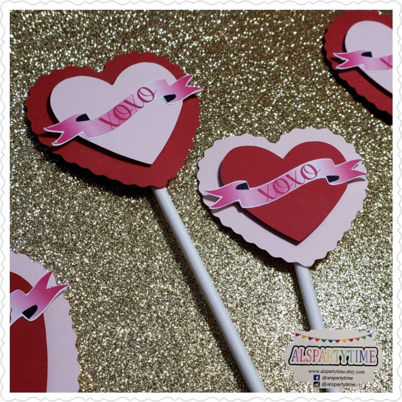 valentines day cupcake toppers set of 12 Heart xoxo cupcake toppers