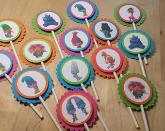 Set of 12 Troll Cupcake Toppers/ Cupcake Toppers/ Party Cupcake decorations / Birthday Party supplies