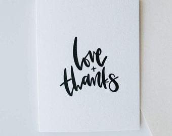 love + thanks-- letterpress thank you card