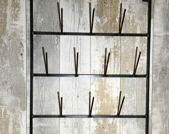 Handmade French style bottle dryer cup mug glass rack industrial look cafe bar plate rack