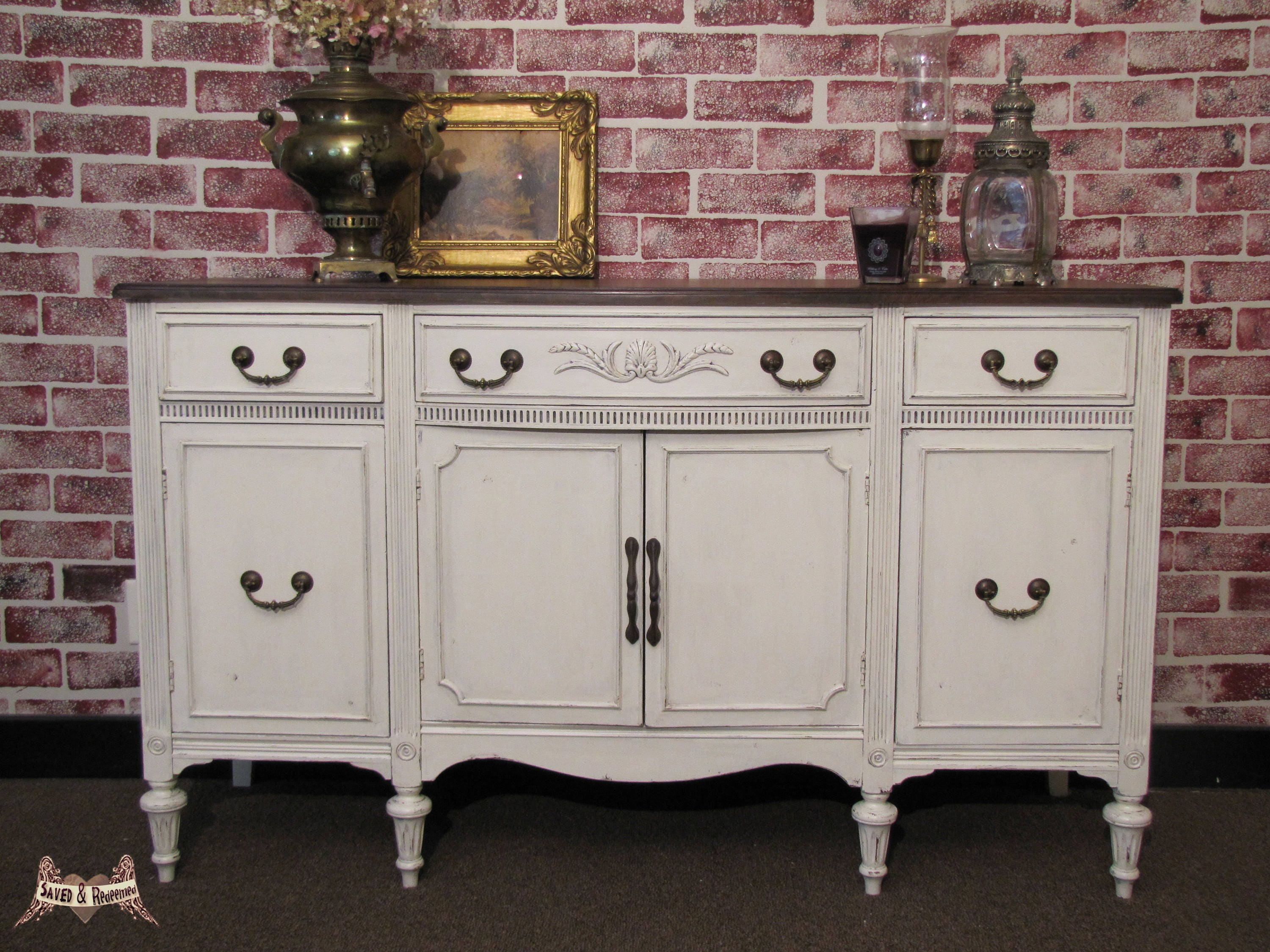 Sold Farmhouse Buffet Shabby Chic Buffet Sideboard Entryway Piece Cottage Chic Painted Country Cottage