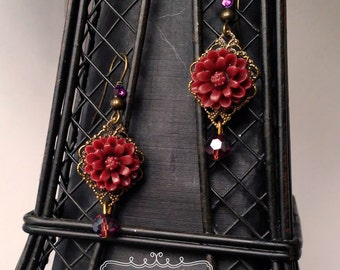 Antique Gold Burgundy Drop Earrings