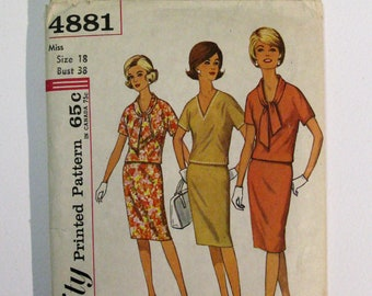 Vintage 70s Simplicity 4881 two piece dress in proportioned sizes