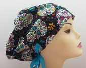 Women 39 s surgical scrub hats, or scrub caps-Sugar Skull Blue