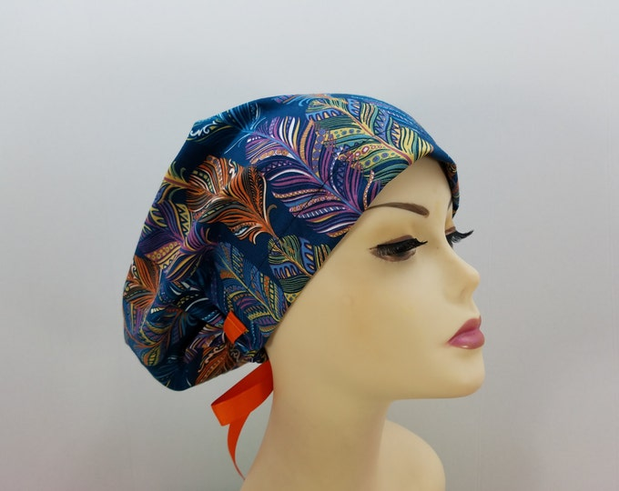 847f3a1984e Women's surgical scrub hats, or scrub caps-Catching Dreams Feathers -  cotton 100%