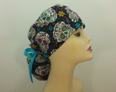 Surgical Cap ponytail stile-Sugar Skull Turquoise-cotton 100