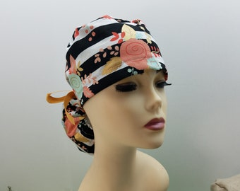 Surgical Cap ponytail stile-Spring on Stripe-cotton 100% 7eae1a719a64