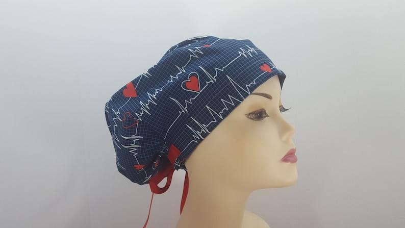 11941f7c95c Women's surgical scrub hats or scrub caps-EKG Print-cotton | Etsy