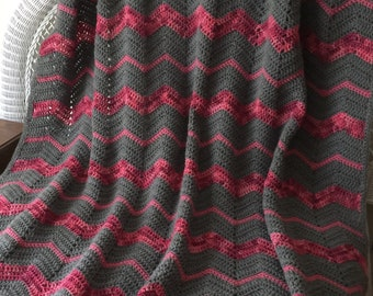Crochet Blanket, Pink and Grey Chevron New, Large, farmhouse decor, rustic, shabby chic, home staging, dorm teen tween girl ready to ship