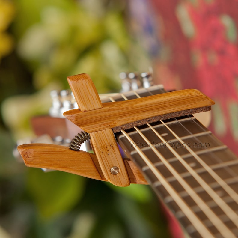 Bamboo Wooden Guitar Capo Adjustable Tension Woodenk Acoustic 6 String Electric Banjo
