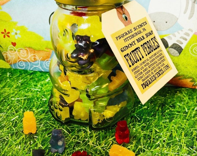 Featured listing image: GUMMY BEAR SOAP in a Glass Jar that looks like a Bear / This makes a great Gift for Kids & Adults